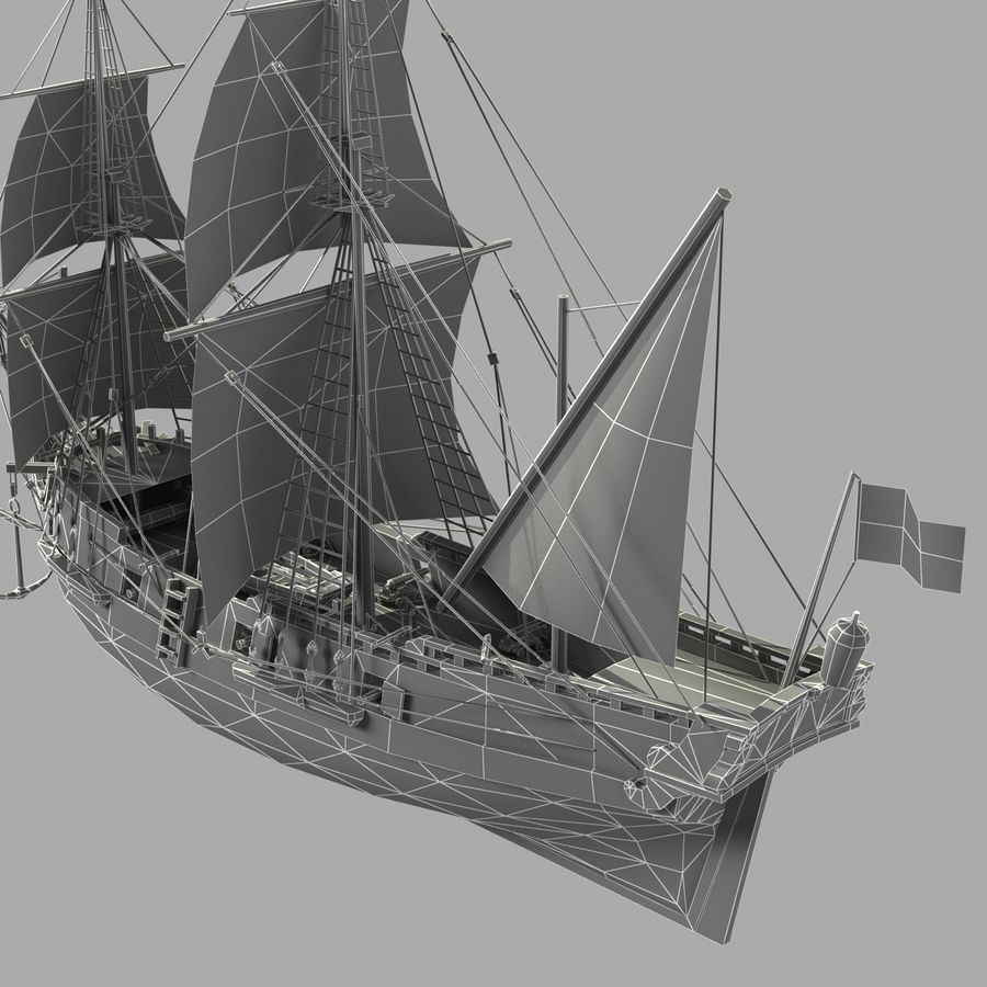 Segelschiff royalty-free 3d model - Preview no. 17