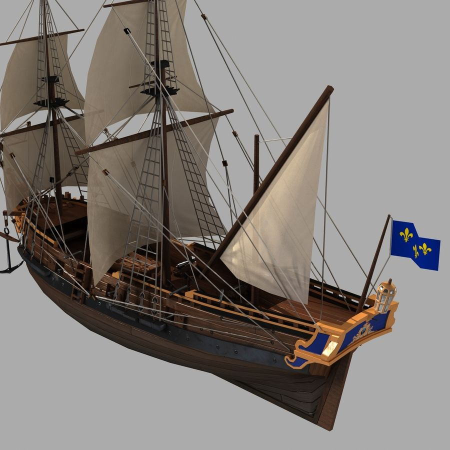 Segelschiff royalty-free 3d model - Preview no. 2