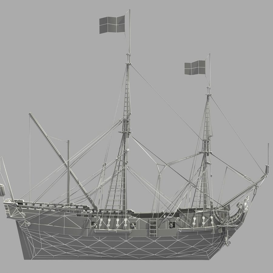 Segelschiff royalty-free 3d model - Preview no. 27