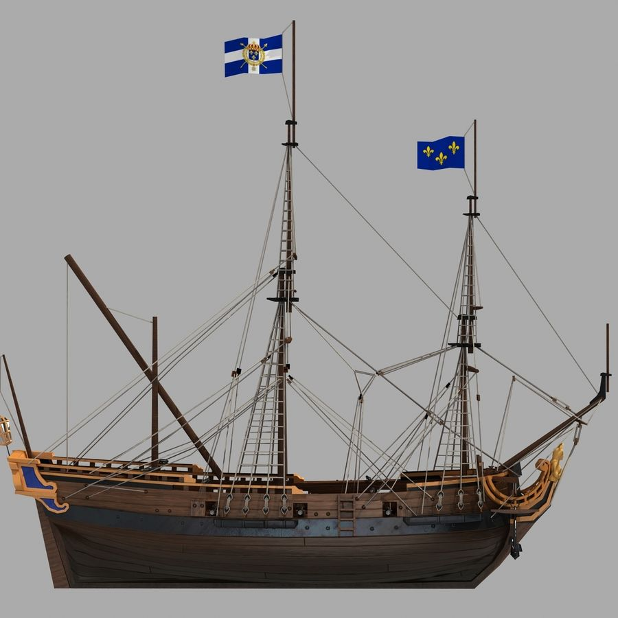 Segelschiff royalty-free 3d model - Preview no. 12