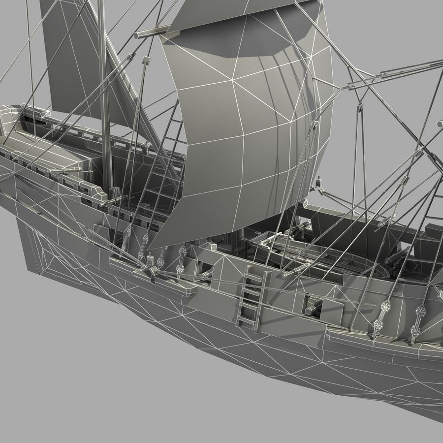 Segelschiff royalty-free 3d model - Preview no. 20