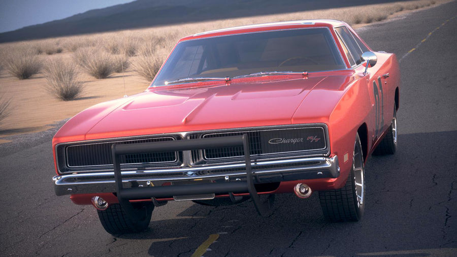 Dodge Charger 1969 General Lee royalty-free 3d model - Preview no. 2