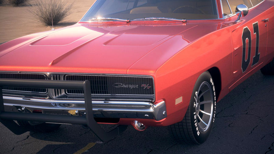 Dodge Charger 1969 General Lee royalty-free 3d model - Preview no. 3