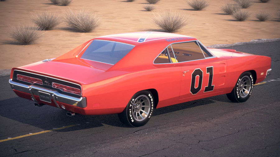 Dodge Charger 1969 General Lee royalty-free 3d model - Preview no. 8
