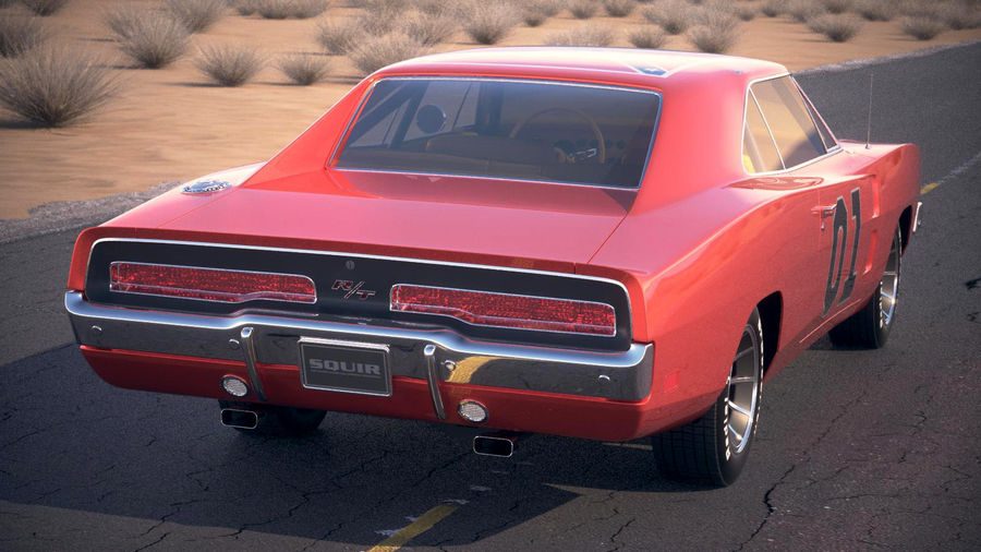 Dodge Charger 1969 General Lee royalty-free 3d model - Preview no. 9
