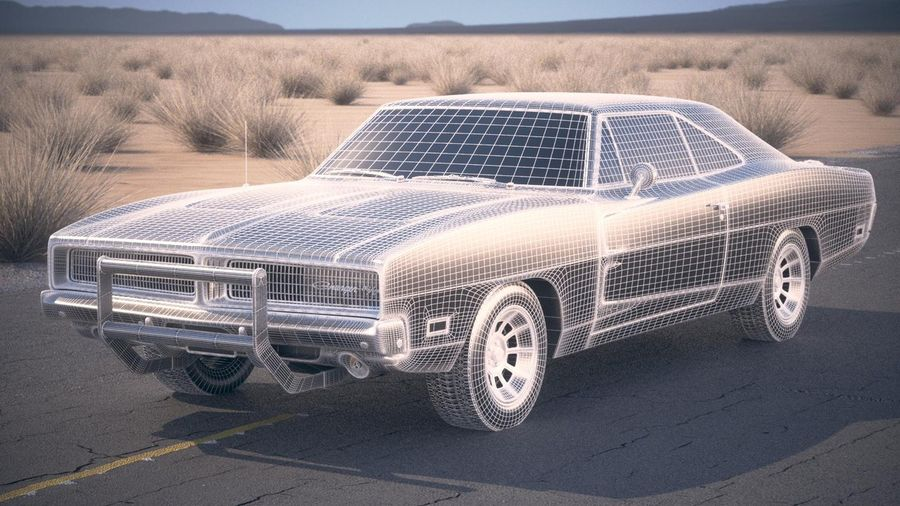 Dodge Charger 1969 General Lee royalty-free 3d model - Preview no. 18