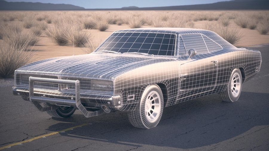 Dodge Charger 1969 General Lee royalty-free 3d model - Preview no. 20