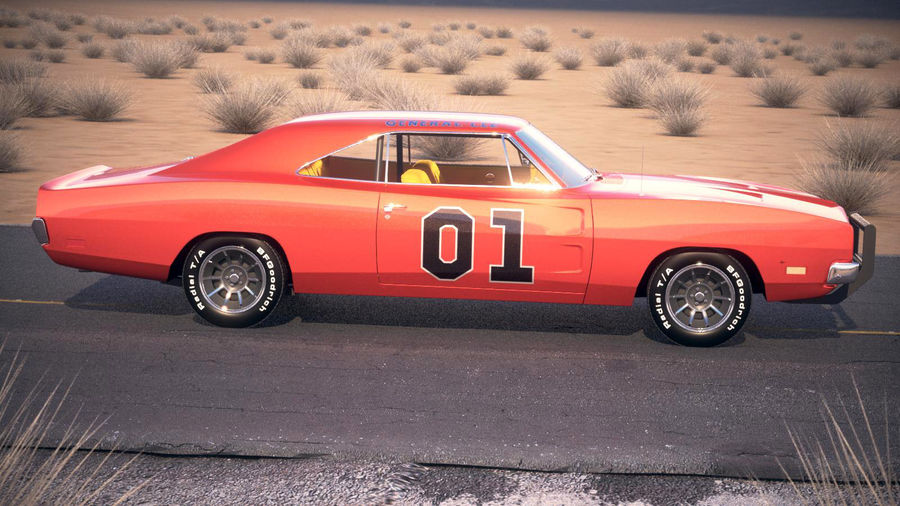 Dodge Charger 1969 General Lee royalty-free 3d model - Preview no. 10