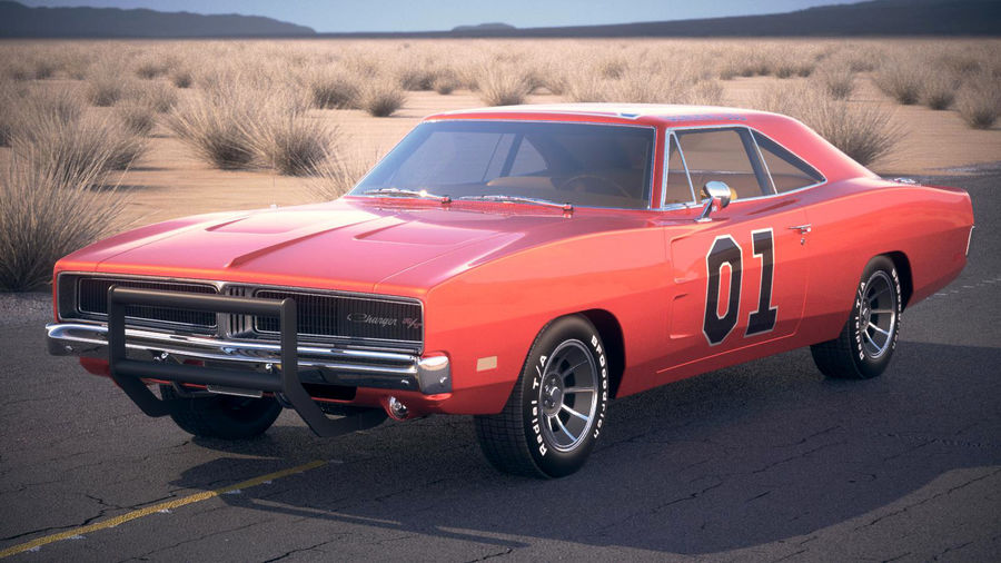 Dodge Charger 1969 General Lee royalty-free 3d model - Preview no. 1