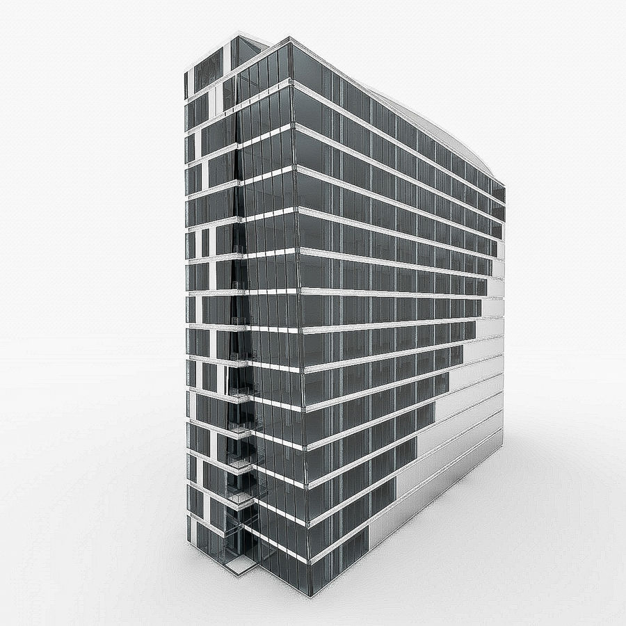 City Office Building 4 royalty-free 3d model - Preview no. 3