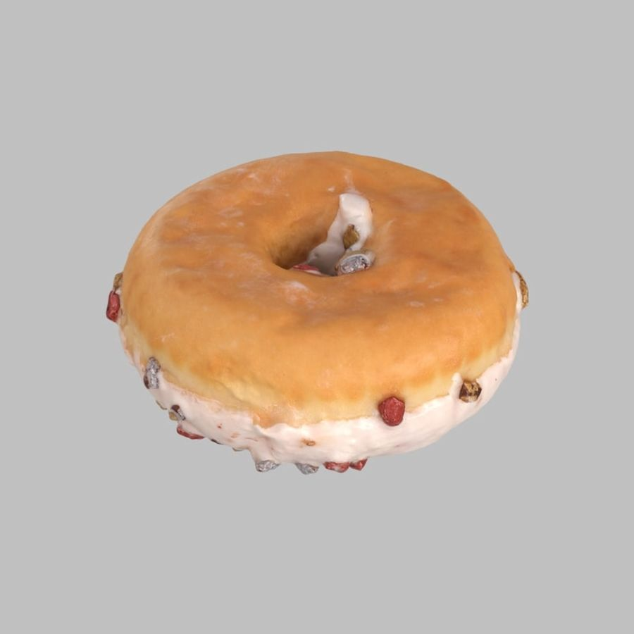 Christmas Frosting White Chocolate Donut royalty-free 3d model - Preview no. 5