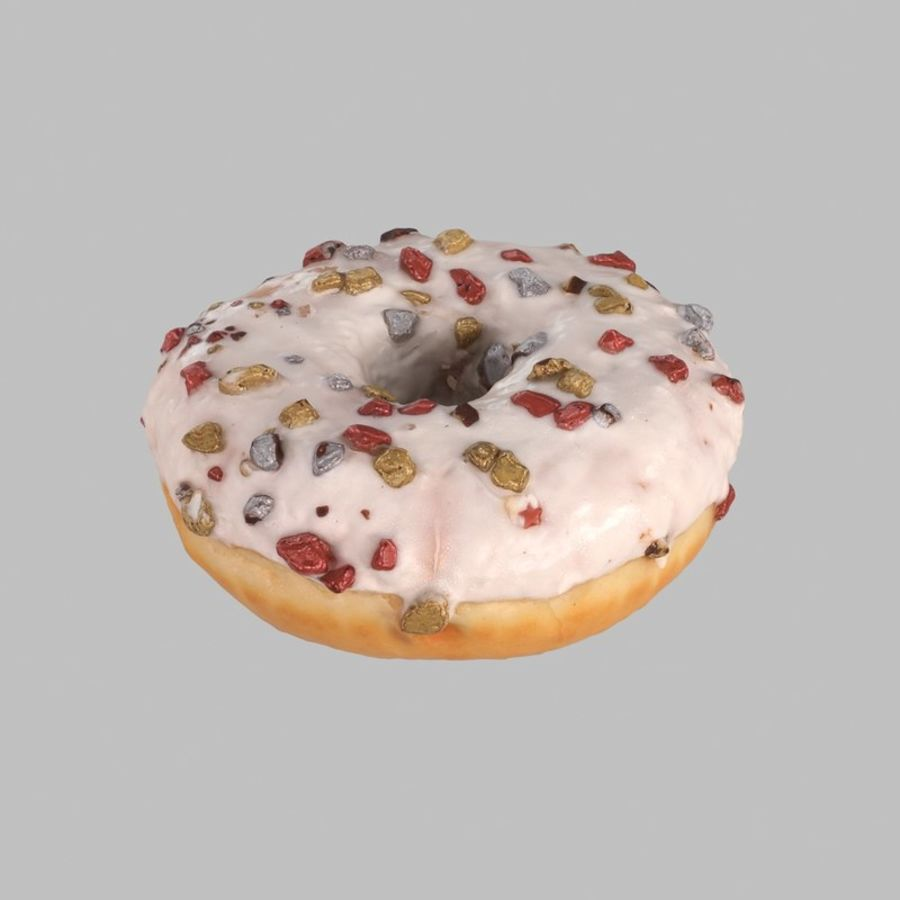 Christmas Frosting White Chocolate Donut royalty-free 3d model - Preview no. 1