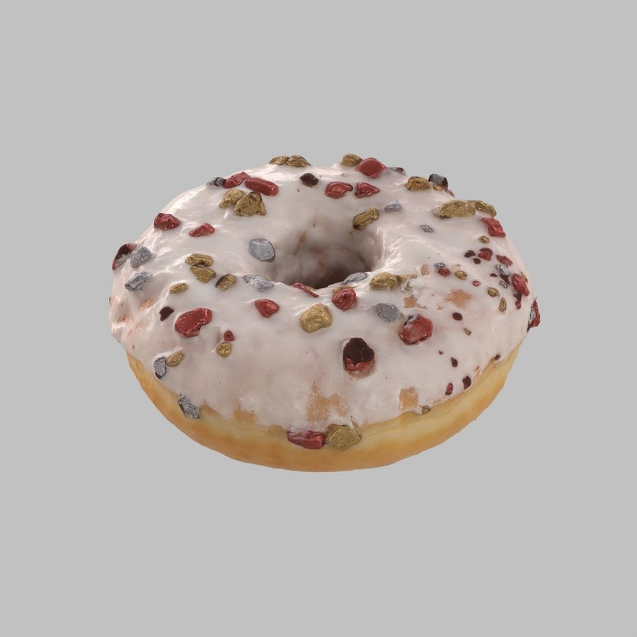 Christmas Frosting White Chocolate Donut royalty-free 3d model - Preview no. 3