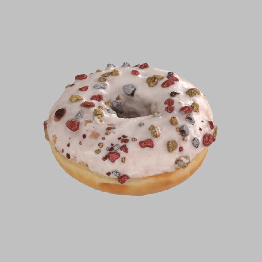 Christmas Frosting White Chocolate Donut royalty-free 3d model - Preview no. 4