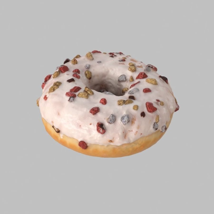 Christmas Frosting White Chocolate Donut royalty-free 3d model - Preview no. 2