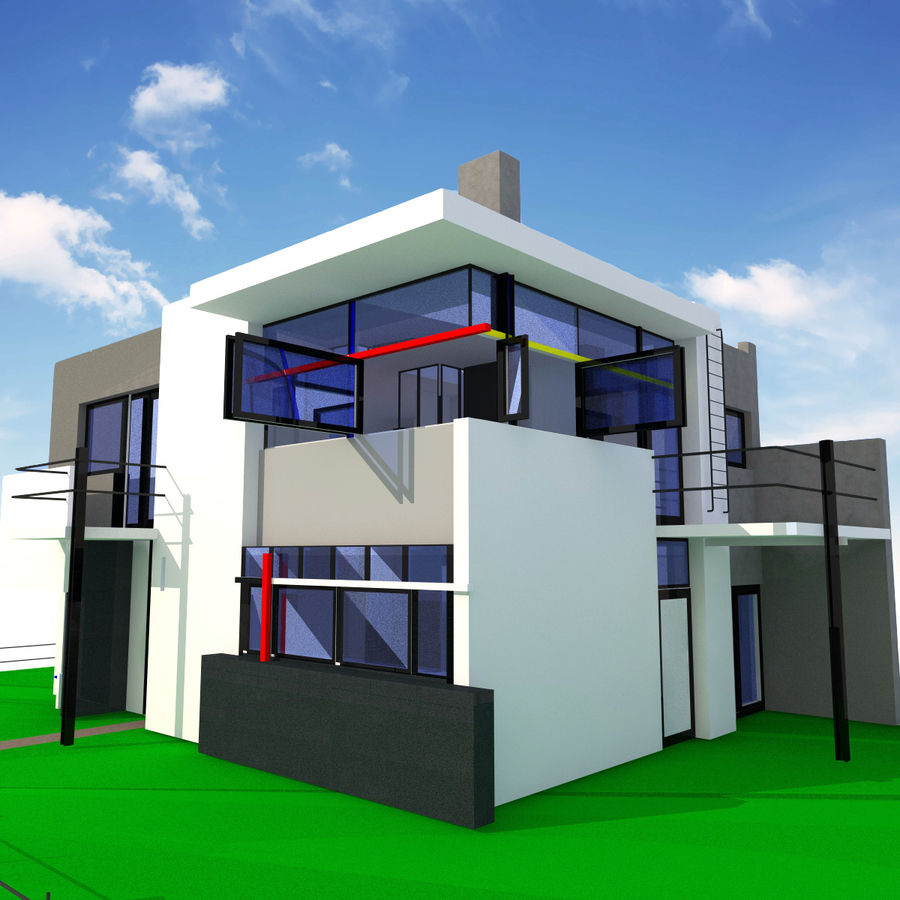 Schroder modern house royalty free 3d model preview no 1