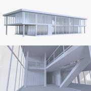 Kontorsbyggnad ett med interiör 3d model