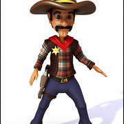 Cowboy Cartoon 3d model
