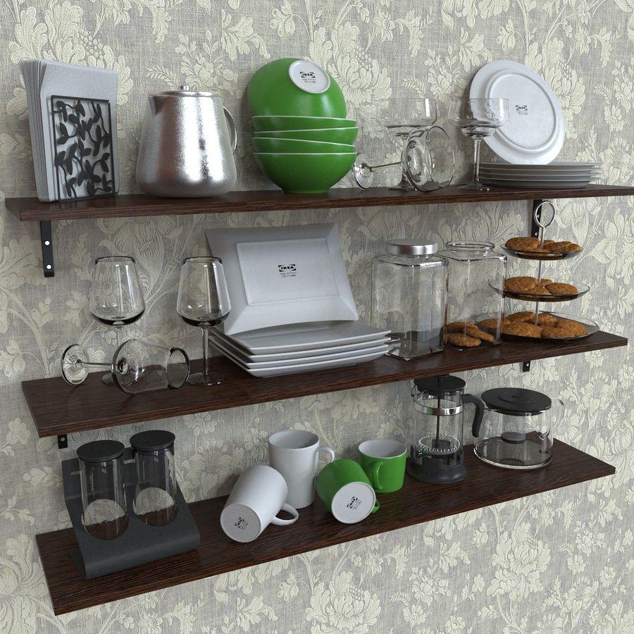 Ikea kitchen Bowls & Plates Set royalty-free 3d model - Preview no. 2