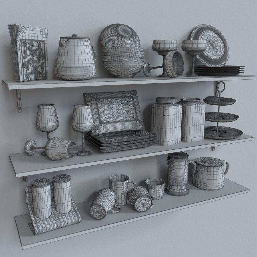 Ikea kitchen Bowls & Plates Set royalty-free 3d model - Preview no. 7