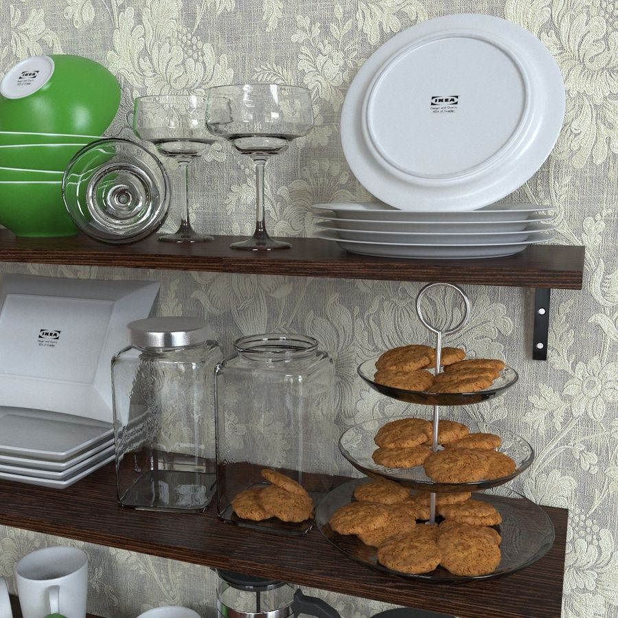 Ikea kitchen Bowls & Plates Set royalty-free 3d model - Preview no. 4