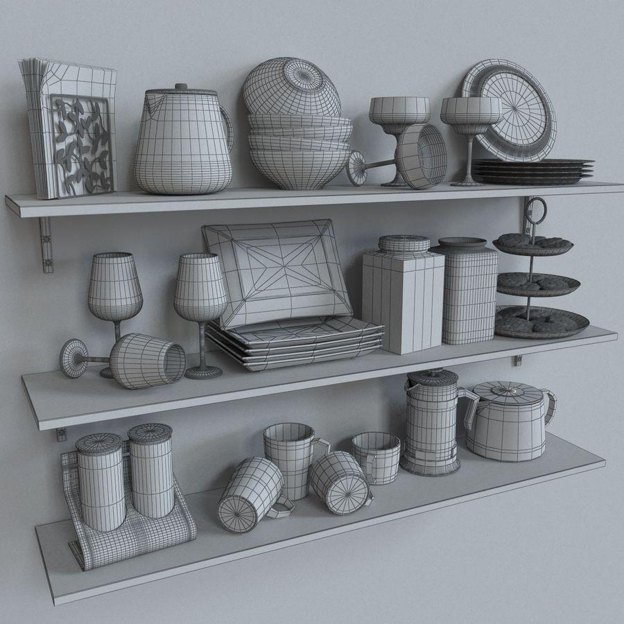 Ikea kitchen Bowls & Plates Set royalty-free 3d model - Preview no. 8