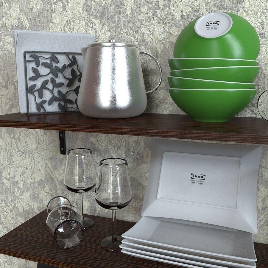 Ikea kitchen Bowls & Plates Set royalty-free 3d model - Preview no. 3