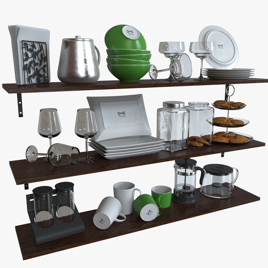 ikea kitchen bowls plates set 3d model 15 max obj fbx free3d. Black Bedroom Furniture Sets. Home Design Ideas