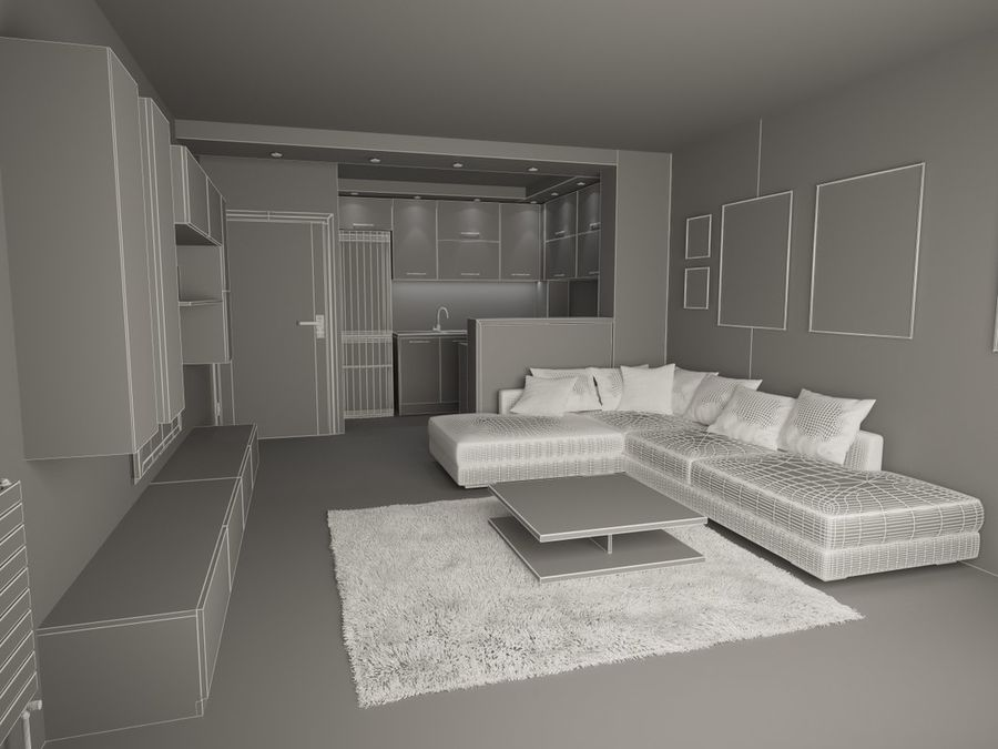 Interior moderno royalty-free modelo 3d - Preview no. 8