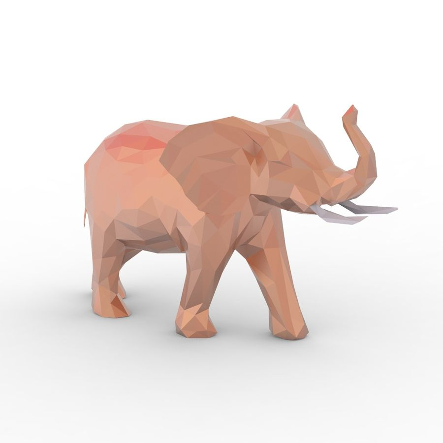 Słoń Low Poly Cartoon royalty-free 3d model - Preview no. 6