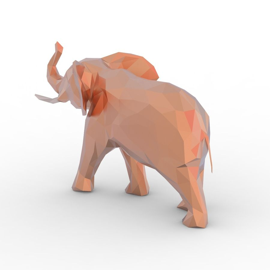 Słoń Low Poly Cartoon royalty-free 3d model - Preview no. 4