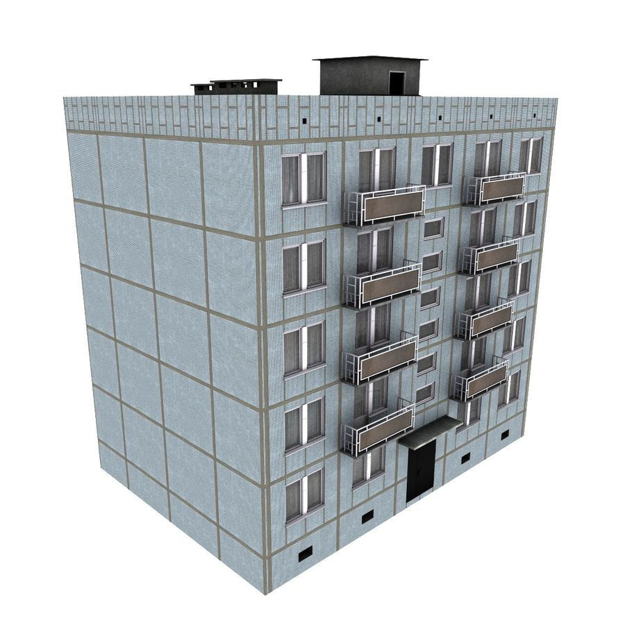 5-Storey Russian Building (KPD-4570-73/75) royalty-free 3d model - Preview no. 1