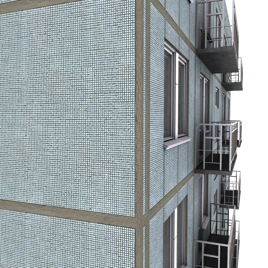 5-Storey Russian Building (KPD-4570-73/75) royalty-free 3d model - Preview no. 7