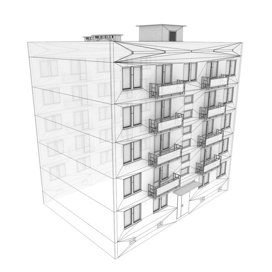 5-Storey Russian Building (KPD-4570-73/75) royalty-free 3d model - Preview no. 2