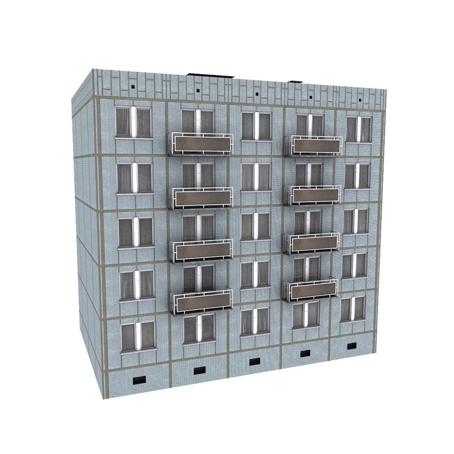 5-Storey Russian Building (KPD-4570-73/75) royalty-free 3d model - Preview no. 3