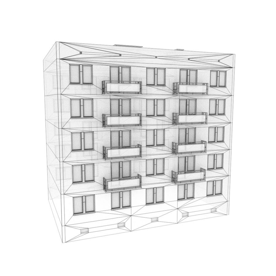 5-Storey Russian Building (KPD-4570-73/75) royalty-free 3d model - Preview no. 4