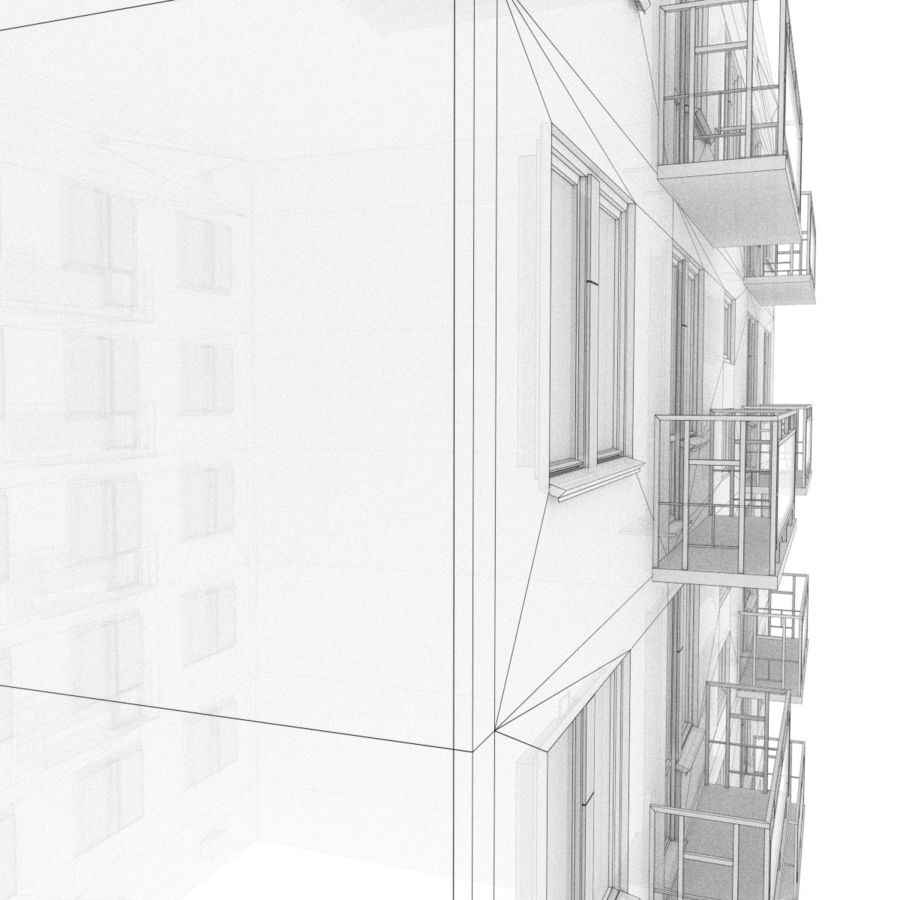 5-Storey Russian Building (KPD-4570-73/75) royalty-free 3d model - Preview no. 8