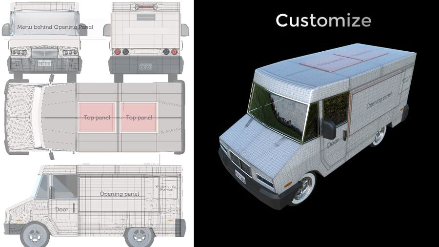 Food Truck royalty-free 3d model - Preview no. 6