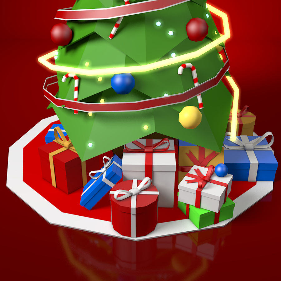 Low Poly Christmas Tree royalty-free 3d model - Preview no. 5
