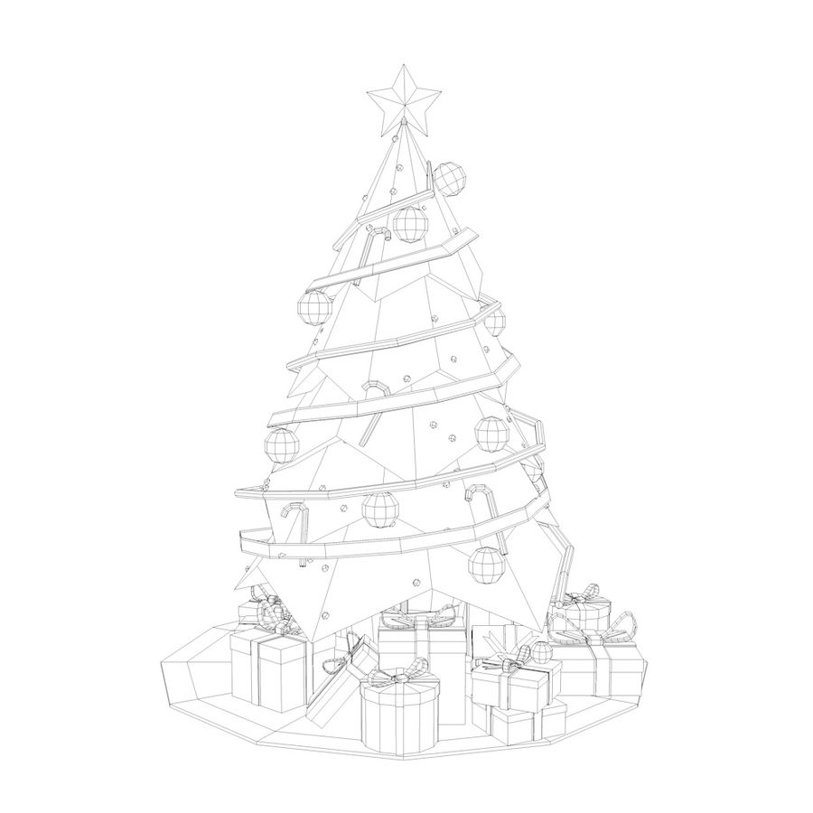 Low Poly Christmas Tree royalty-free 3d model - Preview no. 2