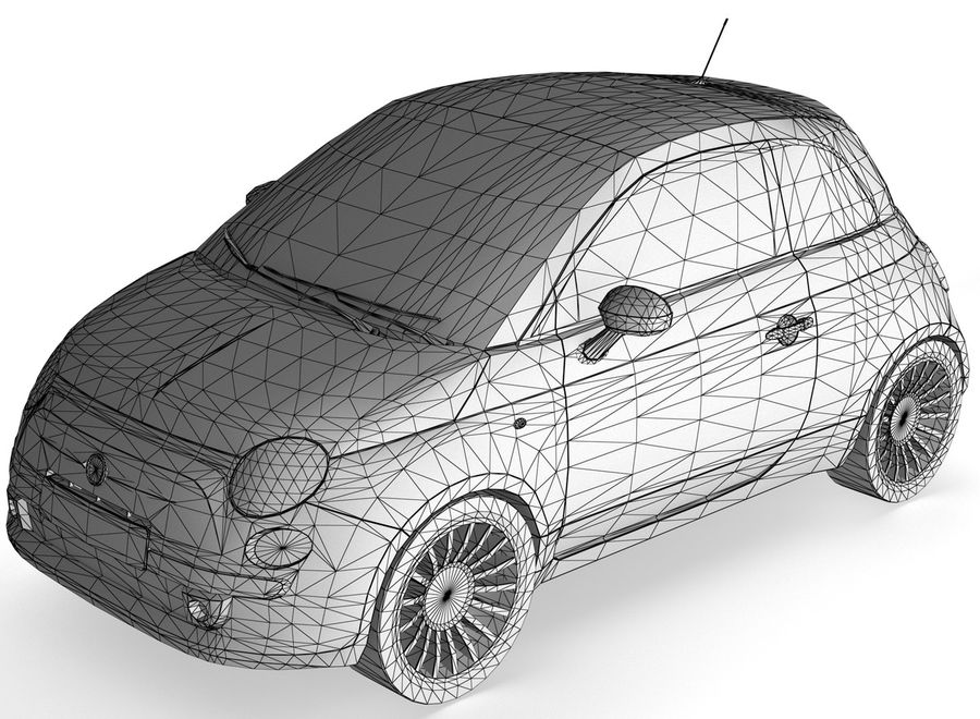 Fiat 500 royalty-free 3d model - Preview no. 1
