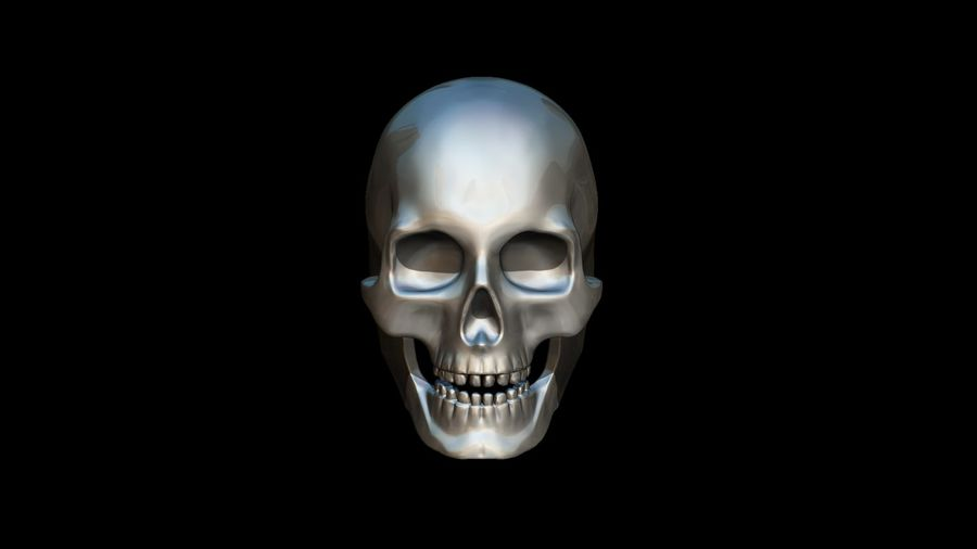Realistic Skull pendant royalty-free 3d model - Preview no. 2
