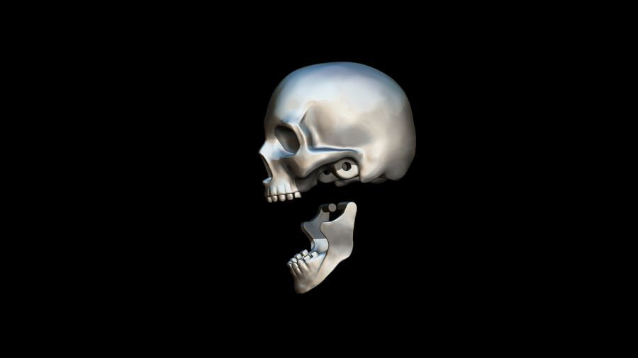 Realistic Skull pendant royalty-free 3d model - Preview no. 9