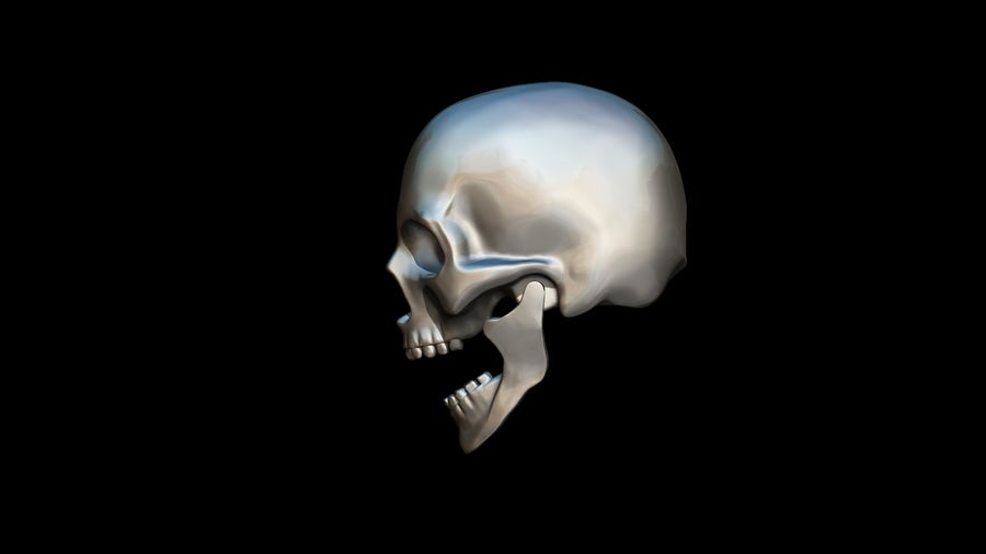 Realistic Skull pendant royalty-free 3d model - Preview no. 7