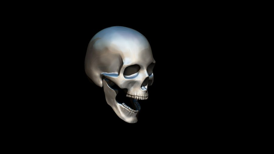 Realistic Skull pendant royalty-free 3d model - Preview no. 10