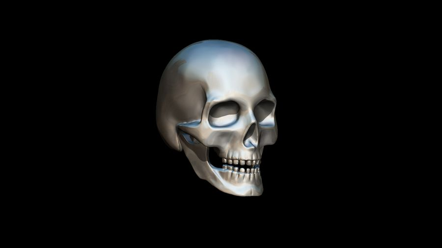 Realistic Skull pendant royalty-free 3d model - Preview no. 5