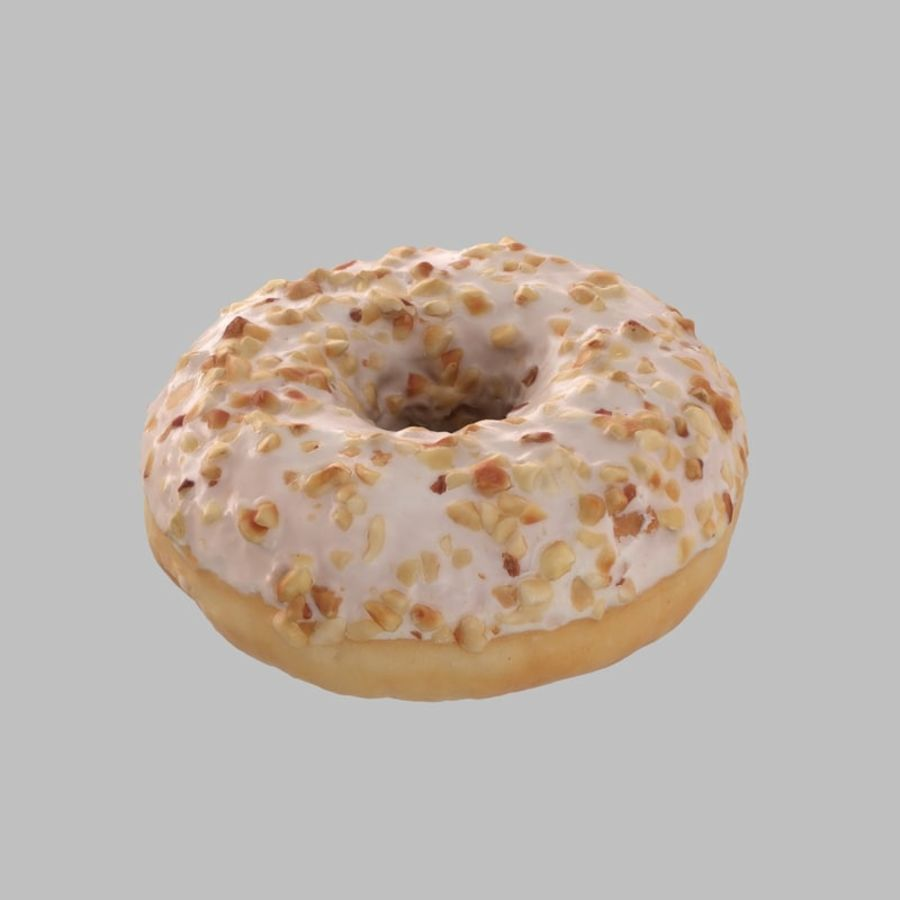 Hazelnut White Chocolate Donut royalty-free 3d model - Preview no. 3