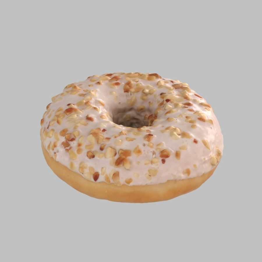 Hazelnut White Chocolate Donut royalty-free 3d model - Preview no. 4