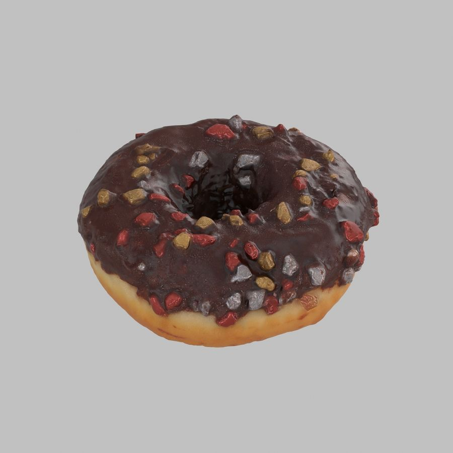 Christmas Frosting Chocolate Donut royalty-free 3d model - Preview no. 4