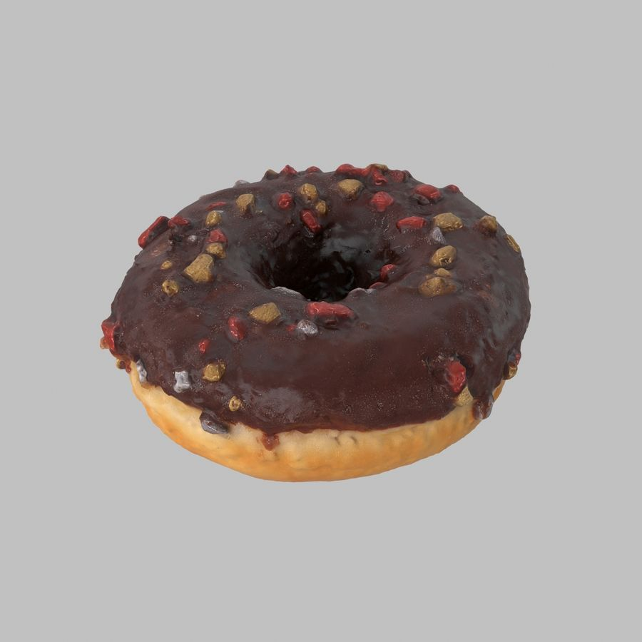 Christmas Frosting Chocolate Donut royalty-free 3d model - Preview no. 2